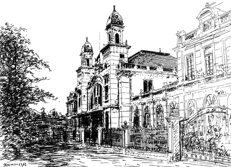 成都街景钢笔手绘