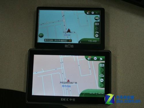 不同尺寸导航仪显示相同地点