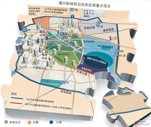 通州新城区域规划图(来源:八通网)图片