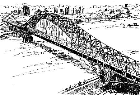 蔡林杉手繪的朝天門長江大橋
