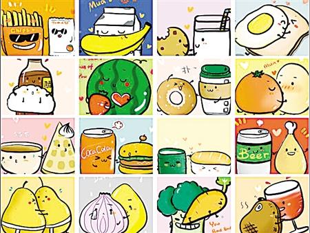 """in love(食物的恋爱法则)""""在网上热传,作者用萌系的手绘,画出了食物们"""